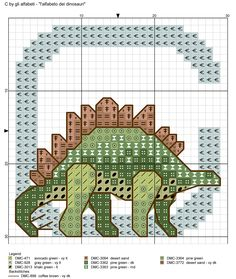 Cross Stitch Alphabet, Cross Stitch Baby, Cross Stitch Animals, Cross Stitch Charts, Cross Stitch Patterns, Dinosaur Alphabet, Dinosaur Crafts, Cross Stitching, Cross Stitch Embroidery