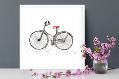 Buy Bike Print from oi Doris Buy Bike, Vintage Typewriters, Dory, New Homes, Unique Jewelry, Handmade Gifts, Stuff To Buy, House Ideas, Home Decor