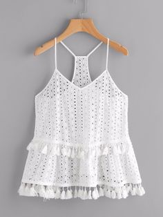 White Tassel Trim Eyelet Embroidered Racerback Cami Top Boho Spaghetti Strap New | eBay