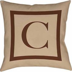 Thumbprintz Classic Block Monogram Decorative Pillow, Caramel, Brown