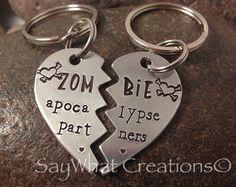 Zombie Apocalypse Partners SET OF TWO Half Heart Key Chains