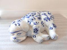 Sleeping Dog Puppy Porcelain Decorative Figural Figurine by Centrum Ceramics