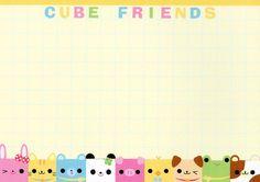 Free Notes: Cube Friends  #free #printables #cute #kawaii #asian #stationary #memo