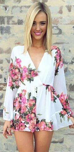White Pink Floral Chiffon Surplice Top Long Sleeve Playsuit Jumpsuit Romper