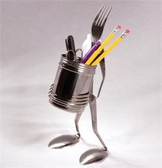 Fork Figure Pencil Cup Holder Spoon and Fork Art Sculptures