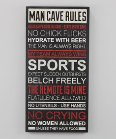 renkler'Man Cave Rules' Wall Plaque on zulily today!