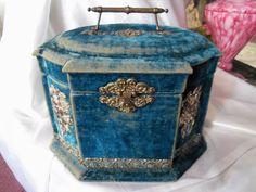 Silverplate Blue Velvet Collar Victorian Box Jewelry Box | eBay