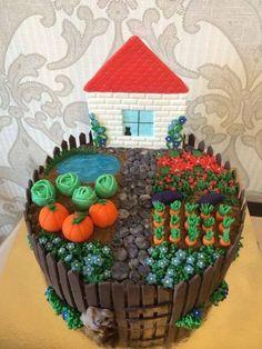 All details on cake is fondants. All details on cake is fondants. Fondant Cakes, Cupcake Cakes, Allotment Cake, Vegetable Garden Cake, 65 Birthday Cake, Farm Cake, Garden Cakes, Diy Cake, Cake Decorating Tips