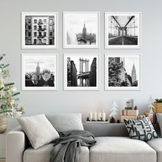 Living Room Gallery Wall Ideas by Annawithlove Print Shop Black Frames On Wall, Gallery Wall Frames, Travel Gallery Wall, Picture Wall Living Room, Living Room Art, Photo Wall Decor, Home Decor Wall Art, Travel Wall Decor, Photowall Ideas