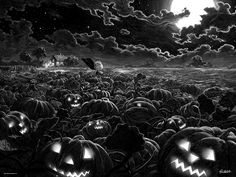 It's the Great Pumpkin, Charlie Brown art print with glowing jack o lanterns in the pumpkin patch