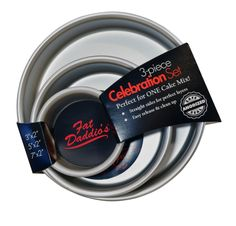 Fat Daddios Celebration Set Round Cake Pans, 3 Piece * Haven't you heard that you can find more discounts at this image link : Baking pans Round Cake Pans, Round Cakes, Wilton Cakes, Fondant Cakes, Cake Leveler, Cake Baking Pans, Cake Decorating Set, Cake Board, Pan Set