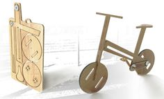"flat pack bike... While the functionality may be suspect, these flat-pack wheels have awesome maker flair. Designer Nicolas Belly of Bordeaux, France won 2nd place in the L'Argus Design Contest which had the theme of ""Less is More: Traveling in the Era of Simplicity."" [via the Ponoko Blog]"