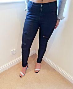 Ladies Women Ripped Hem Stertch Distress Super Skinny Blue Jeans Jeggings 6-14