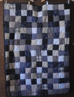 Adorable Country Themed Quilt - Navy, Tan, Cream and Brown #209 by PBandJ on Etsy
