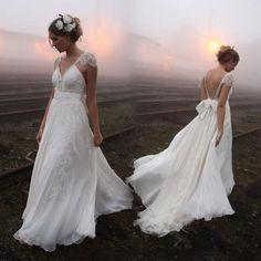 vestidos de novia con encanto verano por encargo A de la gasa de línea de cuello en v mangas cortas sin espalda de encaje de barrido tren vestidos de novia bO6734al por mayor , $113.35 on Es.dhgate.com | DHgate