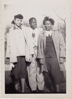 Old Antique Vintage Photograph African American Man Hugging Two Women