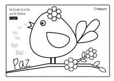 Paloma. Piando Paz. Actividad para el día de la Paz. 3 Year Old Activities, Digi Stamps, Conte, Types Of Art, Line Drawing, Coloring Pages, Clip Art, Birds, Blog