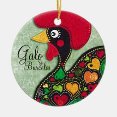 Shop Rooster of Portugal - Galo de Barcelos Ceramic Ornament created by silvianeto. Portugal, Good Luck Symbols, Letting Go Of Him, Christmas Tree, Christmas Ornaments, Lucky Charm, Unique Home Decor, Pilgrim, Home Gifts