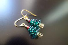 Swarovski Christmas Tree Earrings by BeadingforChange on Etsy