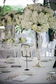 Beautiful Blooms White Centerpiece Roses Hydrangea MK Photography