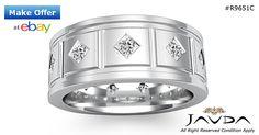 Princess Diamond Mens Eternity Wedding Band 14k White Gold 9.25mm Ring 1.40Ct