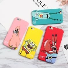 Spongebob Phone Case Spongebob Iphone 6 Case Lovely Cartoon SpongeBob Patrick Frosted PC Phone Case Cover for Apple iPhone 6 7 plus - Handytasche