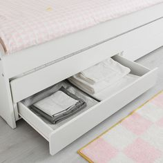 SLÄKT Pull-out bed with storage - white - IKEA