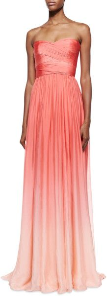 Monique Lhuillier Orange Strapless Ombre Draped Gown Coral