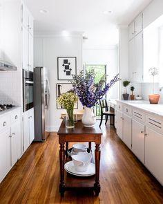 Home Tour: William McLure's 'Bright, Open, Airy' Alabama Tudor White galley kitchen White Galley Kitchens, Galley Kitchen Remodel, Home Kitchens, Kitchen White, Estilo Tudor, Home Decor Kitchen, Design Kitchen, Kitchen Ideas, Interior Design