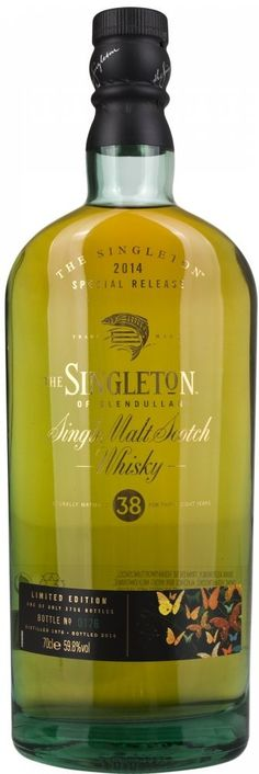 The Singleton of Glendullan 38 Year Old Single Malt Scotch Whisky, 70 cl Vanilla toffee oak, geranium, grasses, some white pepper and fresh vanilla. Warming up front before relaxing entirely with waxy, gentle oak notes. A touch of melon and some venerable wood spices and a salivating oakiness finish.