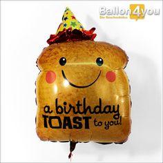 """Toast Ballon zum Geburtstag     Ein """"Toast"""" auf das Geburtstagskind! Damit der Start ins neue Lebensjahr gut gelingt, sorgt der kross gebackene Toast-Ballon für gute Laune pur. Geschmückt mit einem Partyhütchen kann er es kaum erwarten, zum Geburtstag zu gratulieren."""