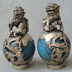 Tibet Silver Dragon Turquoise Phoenix Ball Foo Fu Dog Guardion Lion Pair Statue