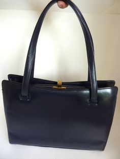 1950's  Black Leather Kelly Handbag by BonniesVintageAttic on Etsy, $69.95
