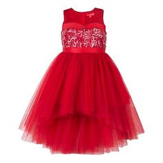Girls hi-low red party dress