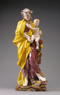 Saint Joseph with the Christ Child; Attributed to Gennaro Laudato (Italian, active in the 1790s), After a model by Giuseppe Sanmartino (Italian, 1720 - 1793); Naples, Italy; 1790s; Polychrome terraglia (white-bodied, glazed earthenware); 54.3 cm (21 3/8 in.); 91.SE.74