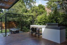 Modern bbq area outdoor kitchen backyard landscape regarding grill remodel Pergola Patio, Backyard Landscaping, Simple Outdoor Kitchen, House Roof Design, Zen, Bbq Area, Grill Area, Roof Architecture, Exterior
