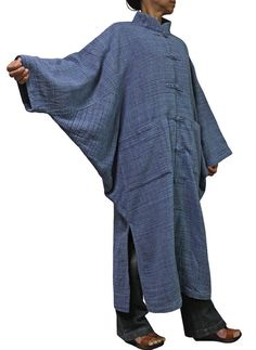 ChomThong Hand Woven Cotton With Thick Yarns Chinese Collar Loose Kimono Coat (JFS-065-04)