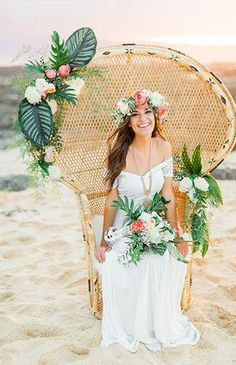 Beach Wedding Photos Coachella Inspired Elopement in Hawaii - Inspired By This - We are bringing the festival to you with this Coachella inspired elopement in Hawaii. Tropical mixes with the bohemian desert in this beautiful shoot. Boho Beach Wedding, Beach Wedding Reception, Beach Wedding Decorations, Elope Wedding, Hawaii Wedding, Dream Wedding, Wedding Dresses, Wedding Wall, Wedding Fonts