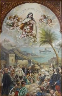 TABLEAU Thérèse patronne des missions.... St. Therese as painted by her sister, Sister Marie of the Holy Spirit, Celine Martin ....Bannière de 1925