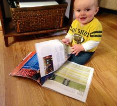 "This week's photo was sent to us by Elise (Anderson) Ruegsegger '04. She says of her son, ""I found Joey ['35?] perusing the Autumn 2013 issue of the Wheaton magazine [see this issue as well as Winter 2014]. He was loving every minute of it. With '3rd generation Wheatie' in his 20 year plan, Joey does what he can to stay connected."" Elise goes on to say that Joey has three grandparents, two uncles, two aunts, and one great-great aunt who have attended Wheaton."