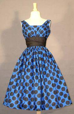 1950's Silk Polka Dot Dress
