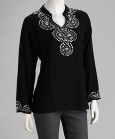 Take a look at this Luv2Luv Black Boho Embroidered Tunic on zulily today!
