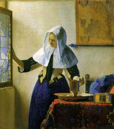 Young Woman with a Water Pitcher - Vermeer c. 1664-65; Oil on canvas, 45.7 x 40.6 cm; Metropolitan Museum of Art, New York