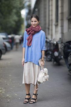 "Milan Fashion Week SS2015 Maria Duenas, senior accessories editor ""I'm wearing a Reed Krakoff jumper, Prada skirt and Nancy Gonzalez bag."""