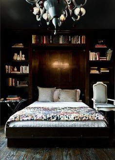 Books in the Bedroom--i love the idea of bookcases on either side of the bed.