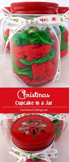 Our colorful Christmas Cupcake in a Jar is festive, easy to make and delicious. They will wow as either Christmas Desserts for a holiday party or a unique DIY Christmas gift for a friend, neighbor or co-worker. Pin this fun Christmas Treat for later and follow us for more unique Christmas Food ideas.