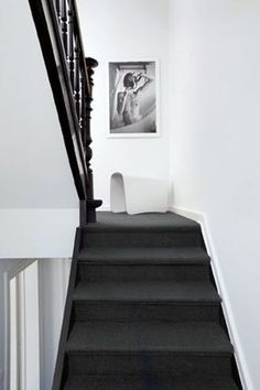 House Staircase, Interior Staircase, Loft Stairs, Home Interior, Monochrome Interior, Black And White Interior, White Stairs, Austin Homes, White Chic