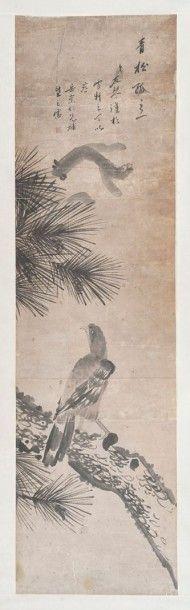 ROULEAU de peinture a l'encre sur papier représentant un aigle sur un pin. Chine XIXème. Inscriptions et cachet de l'artiste. (Etiquette 34) - Var Enchères - Arnaud Yvos - 04/07/2015