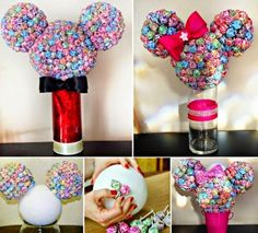 Minnie Mouse Lollipop Tree - Million Ideas Club Mickey Mouse Baby Shower, Minnie Mouse Theme, Mickey Party, Mickey Mouse Birthday, 3rd Birthday Parties, 2nd Birthday, Birthday Ideas, Lollipop Tree, Mouse Parties