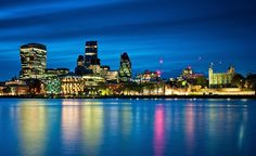 London, blue hour, city, view, reflection, city, urban, scene